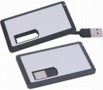 Silver Rubber USB card with extendable cable