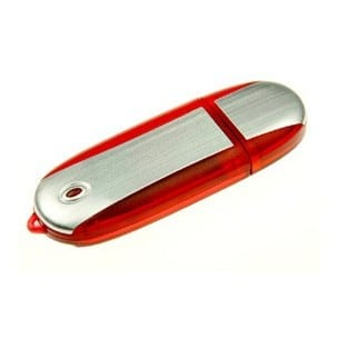 Rounded metal and transparent coloured USB