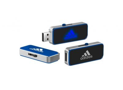 Retractable USB Flash Drive with LED Light-Up logo